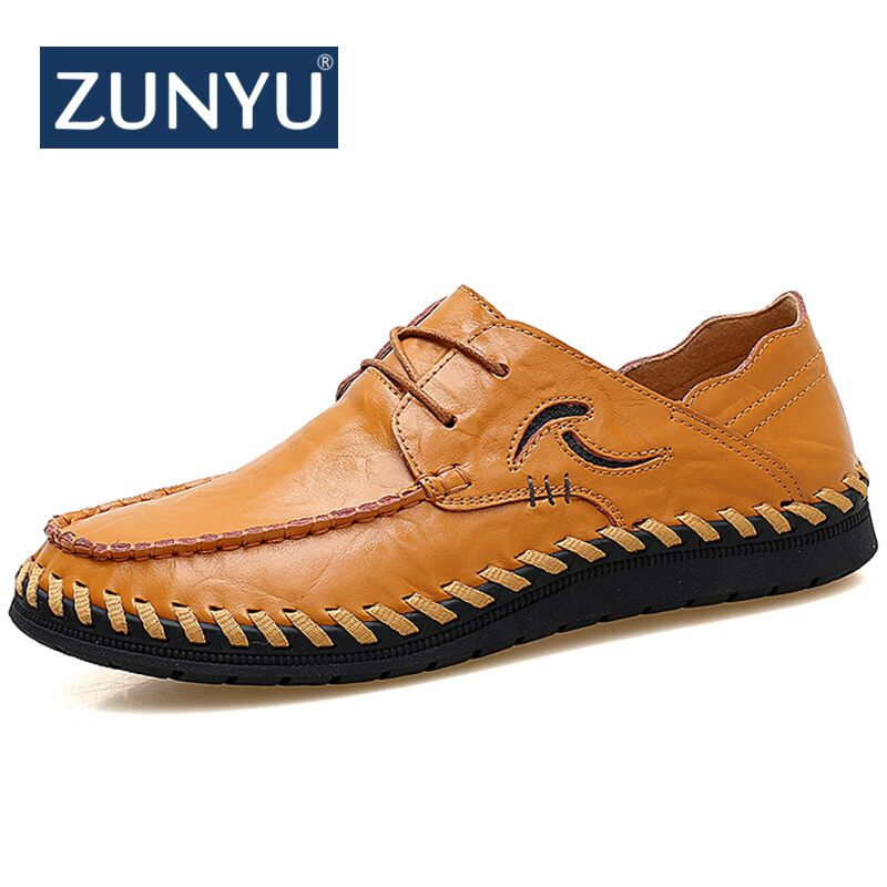 цена на ZUNYU New Large Size 38-47 Fashion Men Casual Shoes Moccasins Flats Male Breathable Driving Shoes Men Leather Boat Shoes Loafers
