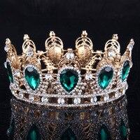 Green Rhinestone Tiaras Diadem Rhinestones Crystal Hair Accessories Pageant Party Prom Luxury Hair Jewelry