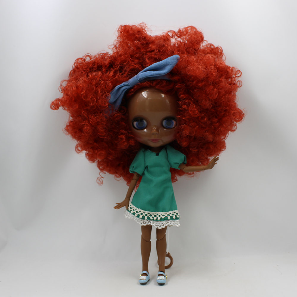 Super Tan skin Blyth nude doll 30cm red brown afro hair with Joint body 1/6 bjd blyth doll for sale 12 blyth nude doll k 180 black hair bjd blyth doll for sale