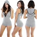New Sexy Women Bodysuit Plunge V Neckline Lace Up Tie Front Stretch Playsuit Jumpsuit Overalls Enteritos Mujer Club Wear