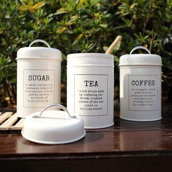 Metal Colorful Seal Storage Jar Classical Minimalist Nordic Desktop Storage Bottle Home Organizer Coffee Sugar Tea Container 2