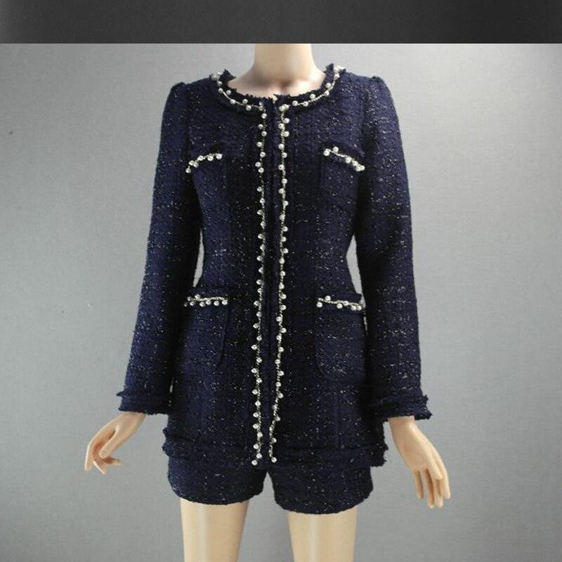 Aliexpress.com : Buy dark blue tweed jacket   shorts suit autumn ...