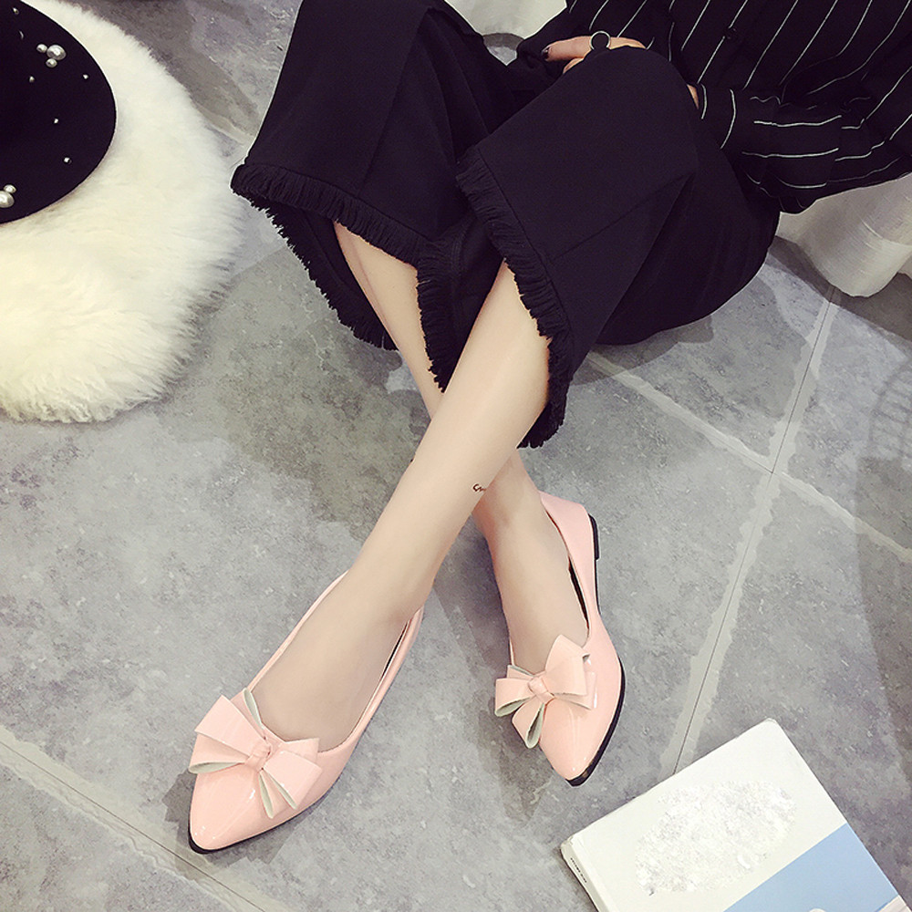 Fashion Bow Pointed Toe Women Flats Woman Flat Shoes Ballet Flats Ladies lankarin brand 2017 summer woman pointed toe flats ladies platform fashion rivet buckle strap flat shoes woman plus size