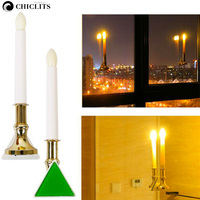 New Light Controlled Candle Lights Decoration 2Pcs Candle Holders Home Lighting Glass Candle Lamp Wall Lamp USB Charging