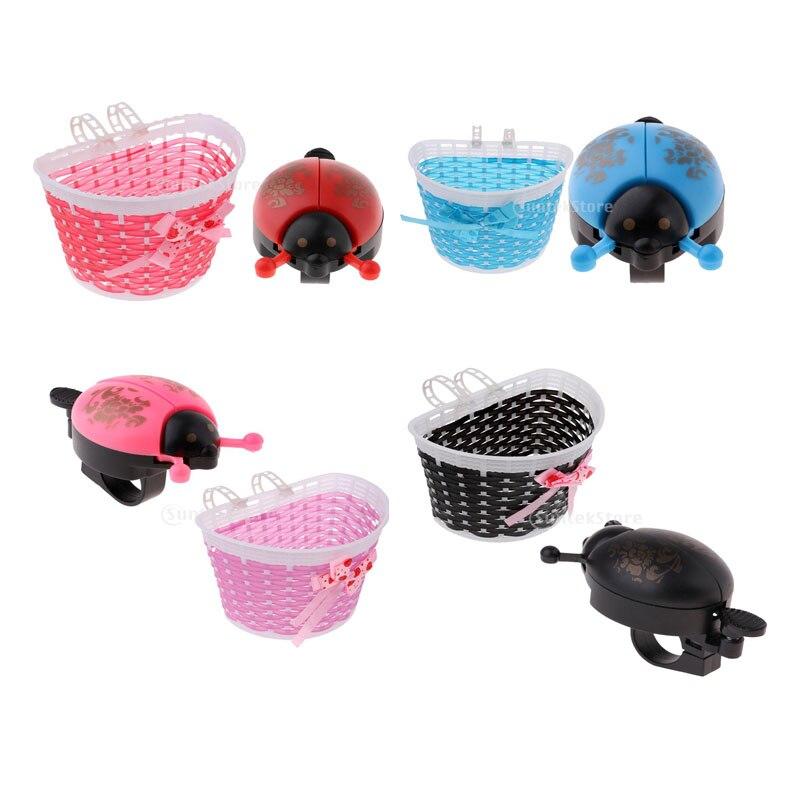 4PCS Handlebar Basket Bell Set Children Plastic Weave Basket for Decoration Gift