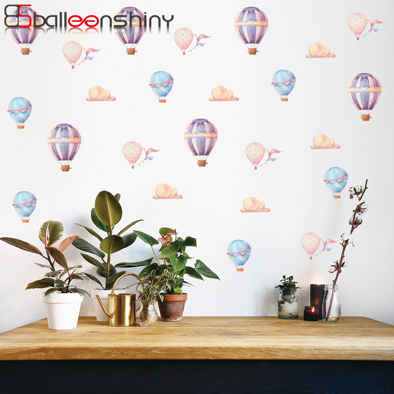Balleenshiny 24pcs/Set Hot Air Balloon Wall Sticker DIY Vinyl Children Room Bedroom Decals Home Nursery Background Decor Paste
