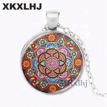 Купить с кэшбэком XKXLHJ  Mandala Necklaces Chakra Pendant OM Jewelry For Women Glass Cabochon Pendants Zen Gifts Jewellery Vintage