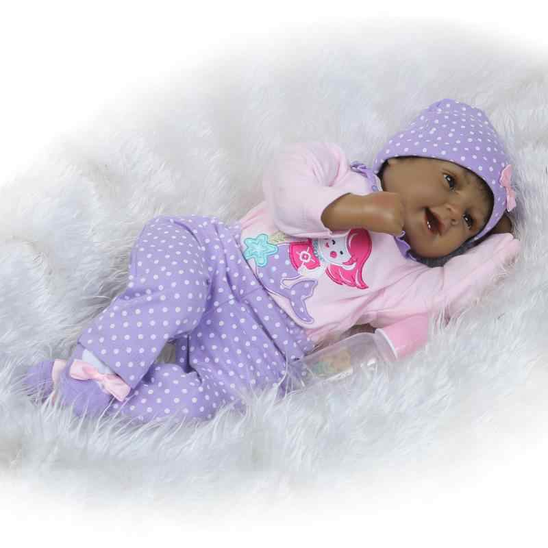 """Черный reborn Детские куклы 22 """"55 см Силиконовая Возрожденный ребёнок куклы для девочек игрушки подарок Bebe реальное возрождение bonecas НПК"""