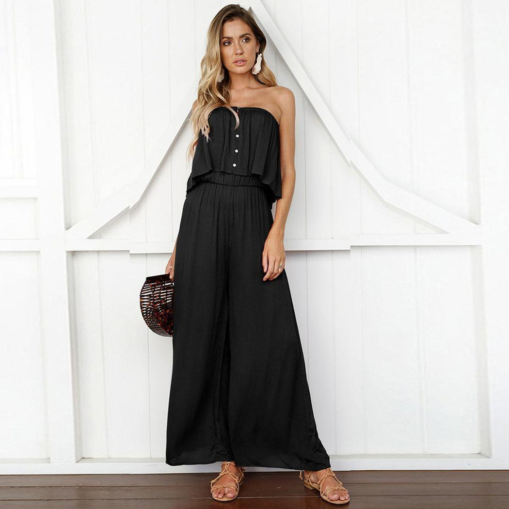 Women Fashion Casual Summer Off Shoulder Strapless Solid Jumpsuit Buttons, Ruffle Full Length(China)