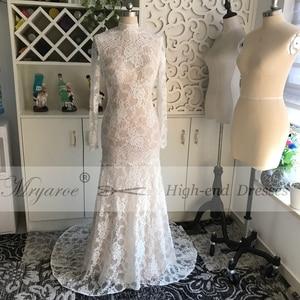 Image 2 - Mryarce Lace Wedding Dress With Long Sleeves Modest High Neck Open Bavk Mermaid Winter Bridal Gown vestido de noiva