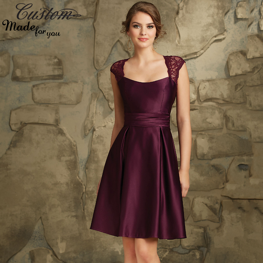 Burgundy A line Satin Lace Wedding Party Dress with Cap Sleeves Plum ...