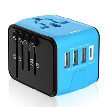 Универсальный адаптер, адаптер питания для путешествий, Международный адаптер питания с 3.4A 3 USB и 1 type-C, для Великобритании, ЕС, США, Австралии