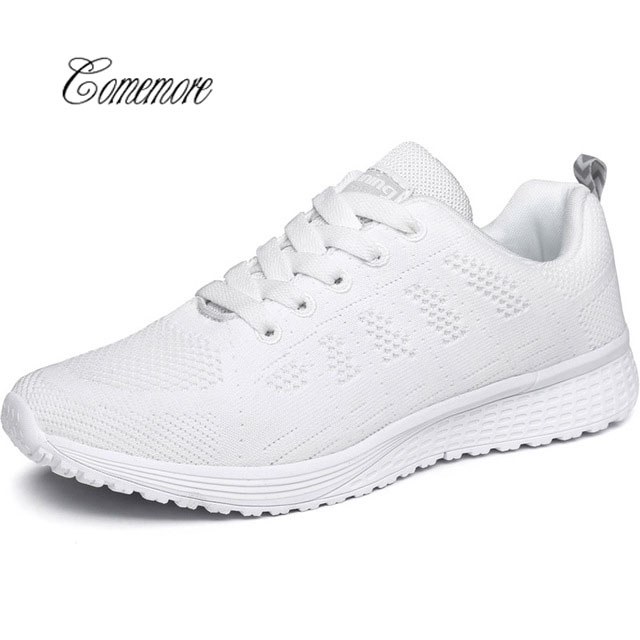 Comemore Breathable Women's Sneakers Woman Sport Shoes Female Summer Running Shoes Women's White Basket Femme 2019 Code