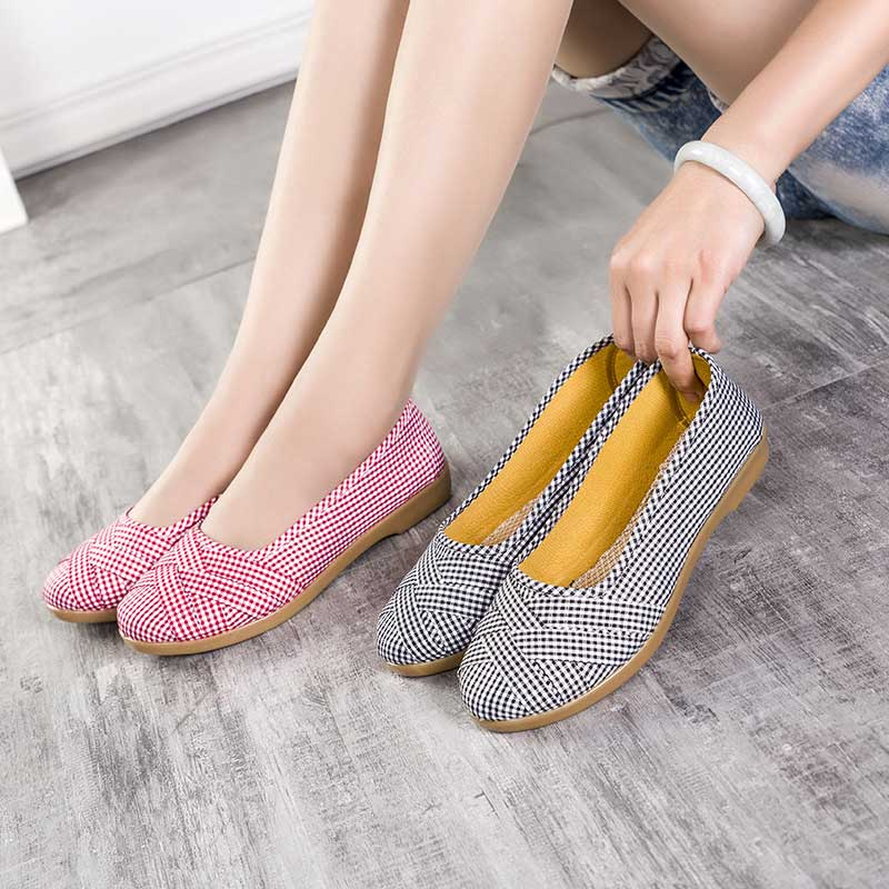 Woman Walking Shoes 2019 Spring Loafers Women Breathable Cotton Shoes Femme Casual Shoe Ladies Black Pink