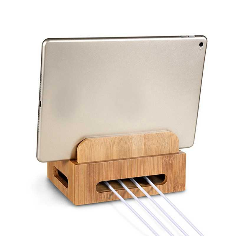 New Tablet Desktop Holder Stand For iPad Bamboo Multi-device Charging Dock Stand Mount Holder Organizer For Tablet Phone