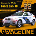 1:32 Scale Alloy Diecast Metal Police Car Model For TheBMW X6 Collection Model Pull Back Toys Car With Sound&Light - White