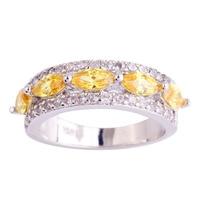 lingmei Wholesale Dazzling Marquise Cut Citrine White Topaz 925 Silver Ring Size 6 7 8 9 10 11 Women Fashion Jewelry Free Ship