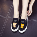 2017 canvas shoes women shoes female students casual shoes cat graffiti cute cartoon shoes