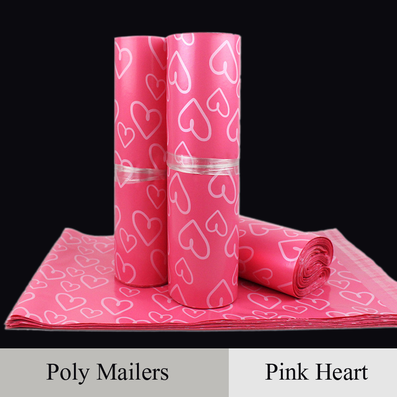 Poly mailer rozā sirds formas krāsu pasta aploksnes maisiņi Iepakojums pa pastu Iepakojums Plastmasas kurjera pašlīmējošais materiāls