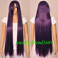 Hot Sell!heat Party hair Free shipping****** New wig Cosplay long Straight Dark purple Heat Resistant wig
