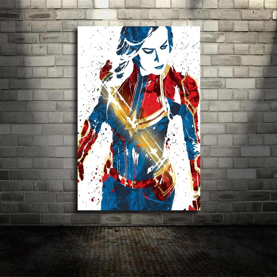 Captain Marvel Movie Canvas Poster Wall Art Print Kids Decor Home Decor