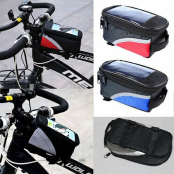 UK Bicycle Mountain Bike Front Frame Pannier Tube Bag Case Pouch For Cell Phone roswheel bicycle frame pannier front tube bag black red