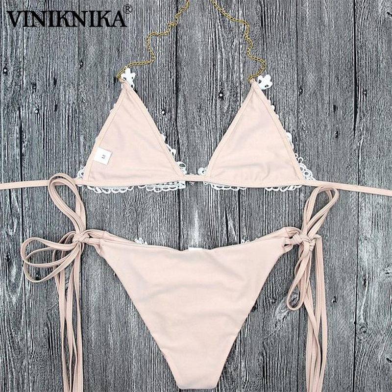 VINIKNIKA Woman Crystal Sequins Bikini Set Summer Beach Tether Solid Swimsuit High Quality Fabric Sexy Lady Low Waist Swimwear 4