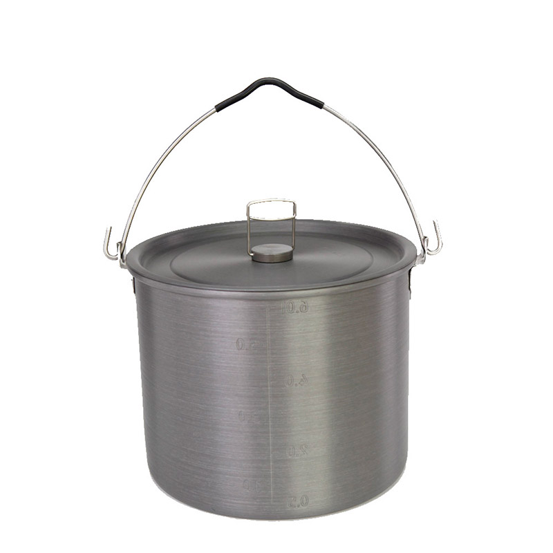 Alocs Outdoor Portable Hanging Cooking Pot Camping Picnic Hiking Cookware Soup Bowl Pot Pan with Storage Bag Camp Set CW-RT03
