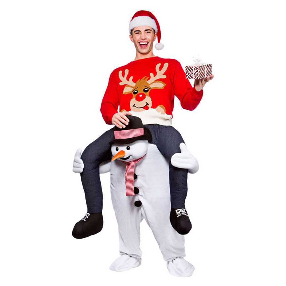 Adult Christmas Snowman Costume Cosplay Santa Claus Mascot Costumes Funny Fancy Dress Pants With False Human Leg