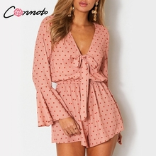 Conmoto Polka Dot Ruffles Women 2018 Autumn Playsuit Flare Sleeve V Neck Sexy Casual Lace up
