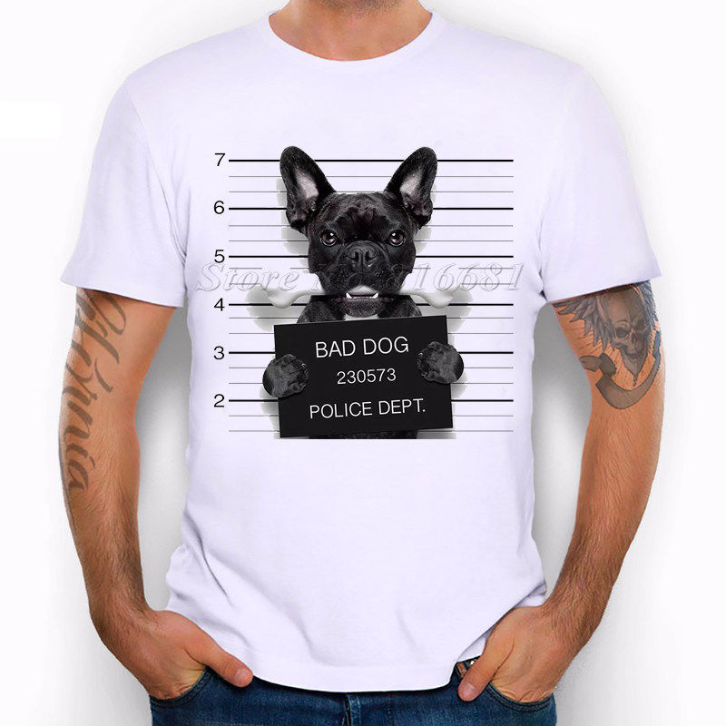 Wanted Bad Dogs Mugshot - Mr French Bulldog Bone Funny Joke Men T Shirt Harajuku Pokemon Shirt Top Tee