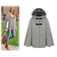 Gray Cloak Women Overcoat 2016 Autumn Spring Gossip Girl Grey Black Hooded Cape Coat Wool Blend Outerwear Jackets Plus Size