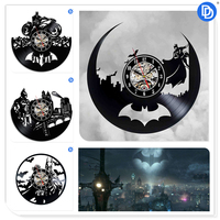 Joker Design 12 Inch Vinyl Record 3D Wall   Clock   Batman Modern Wall Sticker Home Watch Support Drop Shipping