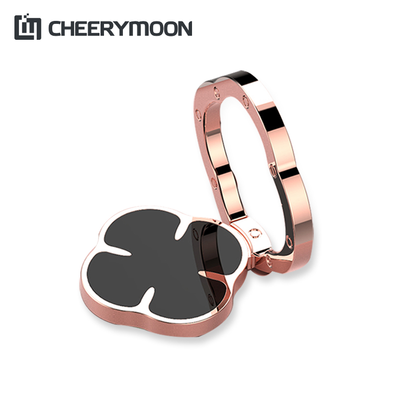 CHEERYMOON Lucky Clover Series Strong Suction Holder Universal Mobile Phone Ring 360 Rotary Metal Finger Grip Stand For IPhone