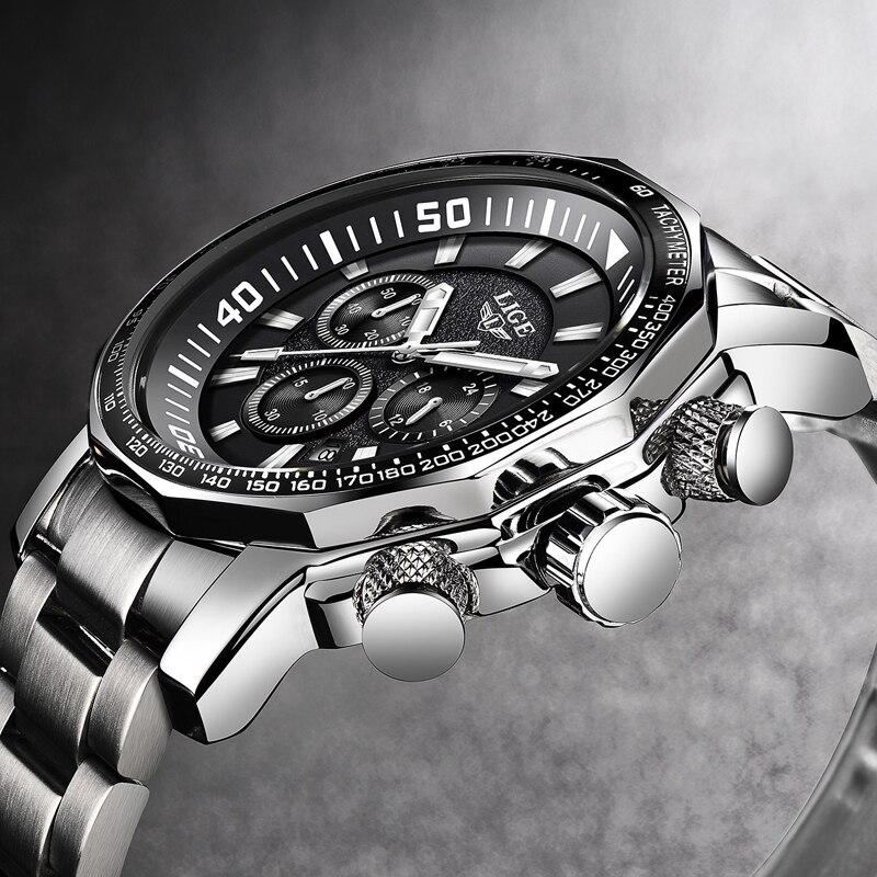 2018 LIGE Mens Orologi Top Brand di Lusso del Quarzo di Modo Dell'orologio degli uomini di Tutto In Acciaio Impermeabile Sport Orologio Militare Relogio Masculino