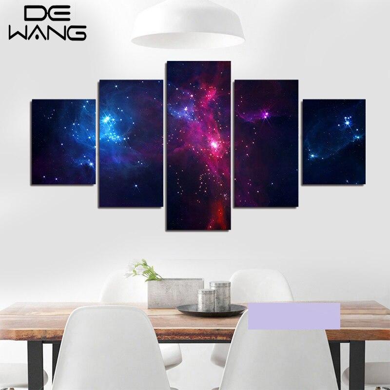 5 piece set canvas art painting galaxy planet universe for Decor 8 piece lunch set