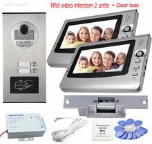 Rfid Home Video Door Phone Doorbell 7″ Color Video Intercom 2 Monitors Door Phone Kit For 2 Apartment + Electric Strike Lock
