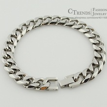 Jewelry Men Bracelet Cuban links & chains Silver Stainless Steel Bracelet for Bangle Male Accessory Wholesale Free Shipping B284