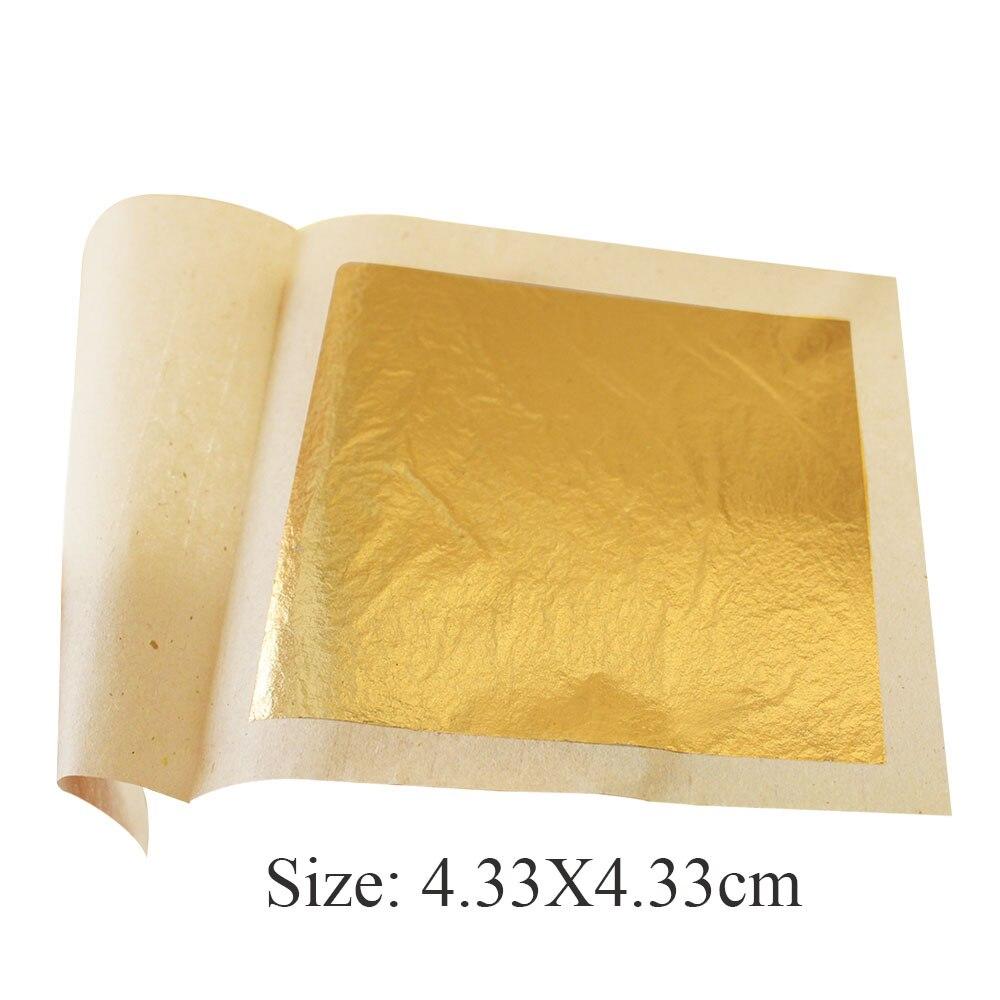 100 Sheets 4 33 X 4 33cm 24K Pure Genuine Gold Leaf Foil Sheet 99 99