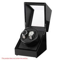 Double Watch Winders Wooden Lacquer Piano Glossy Black Carbon Fiber Quiet Motor Storage Display Watches Box US Plug 2Grids