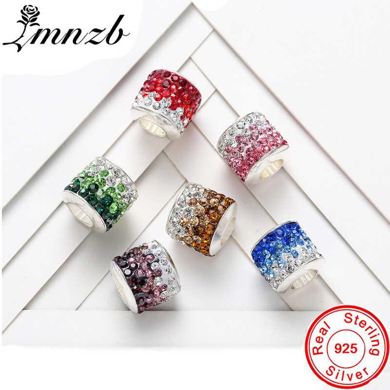 LMNZB nowy 100% prawdziwe 925 lite srebro koralik z kryształkami Charms fit dziewczyny kobiety oryginalny urok bransoletka DIY biżuteria SLD001