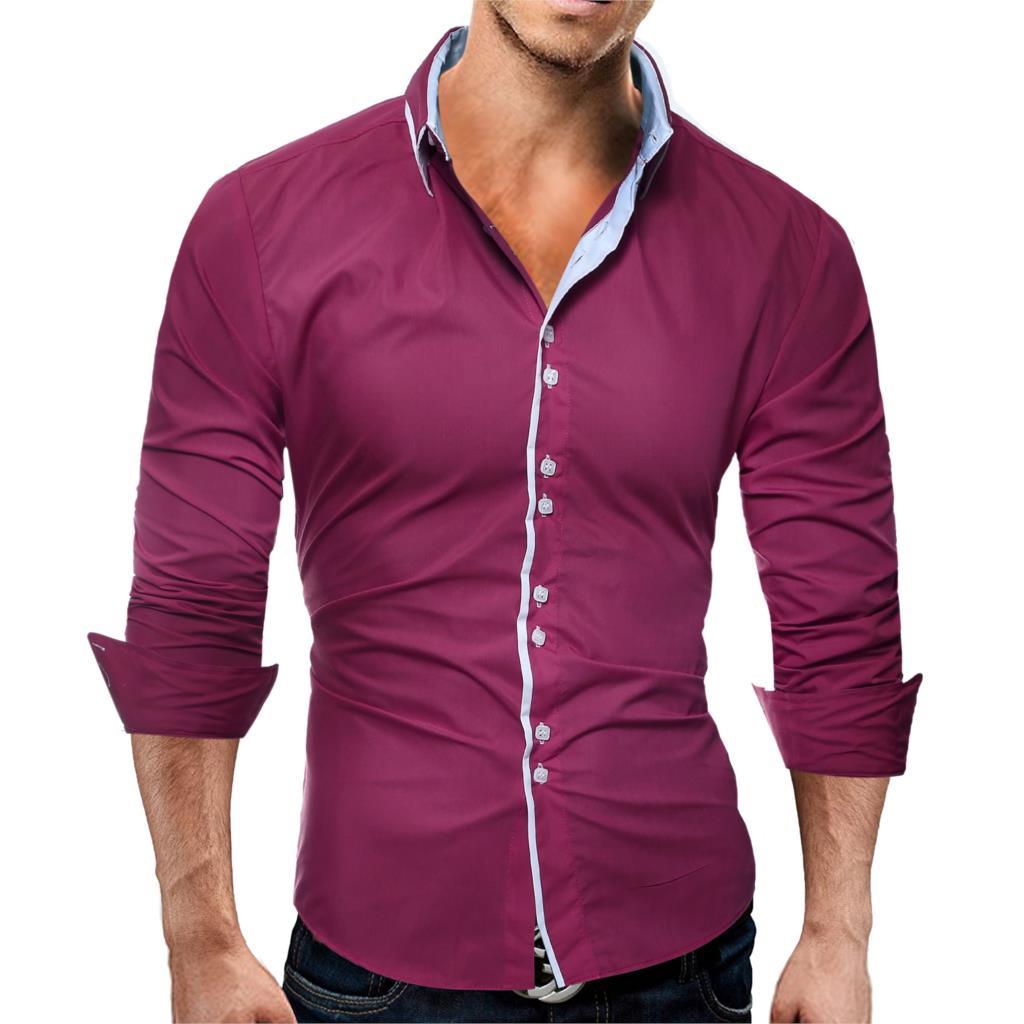 Brand 17 Fashion Male Shirt Long-Sleeves Tops Casual Solid Multi-Button Mens Dress Shirts Slim Men Shirt 3XL ASDF 8