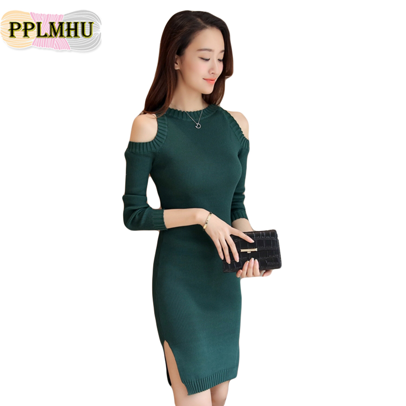 d87a1b3e626381 2018 New Women O-Neck Sweater Dress With Open Shoulder And Autumn Winter Long  Sleeve Long Dresses For Women Straight Vestidos