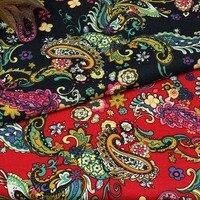Coton et lin ethnique rouge foncé bleu Paisley Motif floral textile pour DIY travail manuel nappe rideaux blouse robe tissus