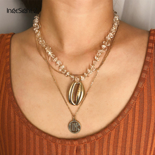 IngeSight.Z Bohemian Multi Layered Natural Stone Choker Necklace Collar Statement Cowrie Shell Pendant Necklace Women Jewelry attractive solid color pendant multi layered women s necklace