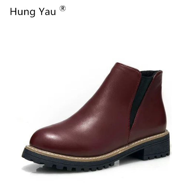 Hung Yau Shoes For Women Ankle Boots Winter Snow Boots Cotton Shoes Platform Women Boots Footwear Botas Female Warm Shoes Size 8 кеды bxsc d259 2015