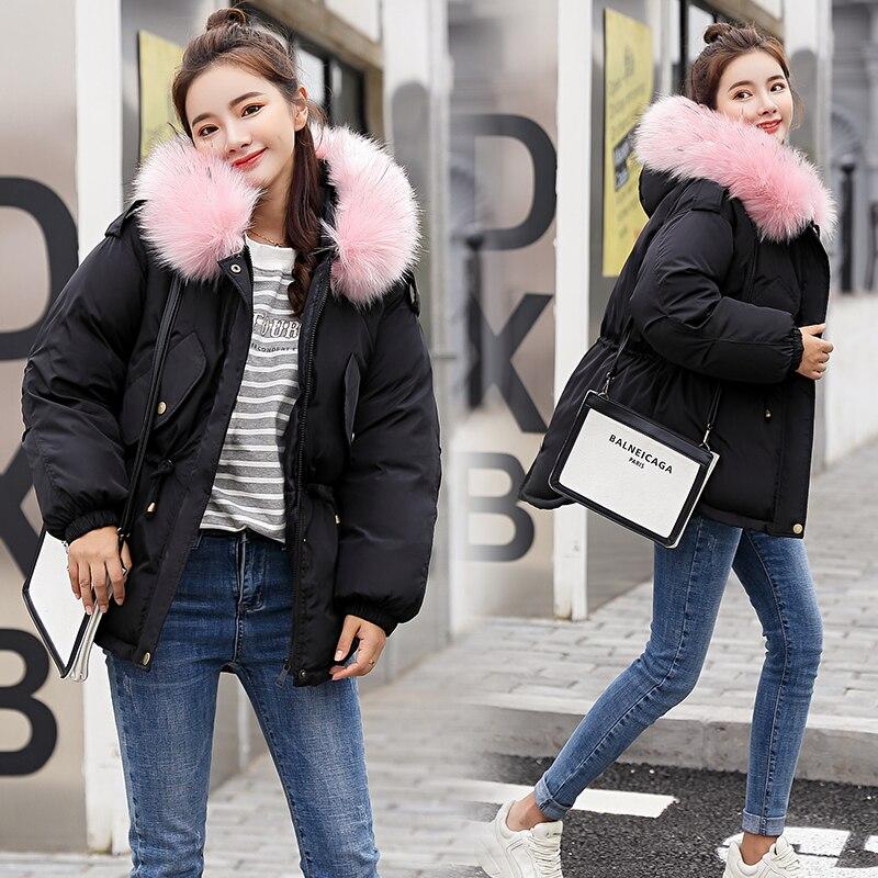 Fur Grey Invierno 2018 Women Beige Mujer Winter black Thick Camperas pink Chaqueta Pink Plus Collar Casual dark Coat black Size Hooded Abrigo Jacket Collar ZZ0xwqE1
