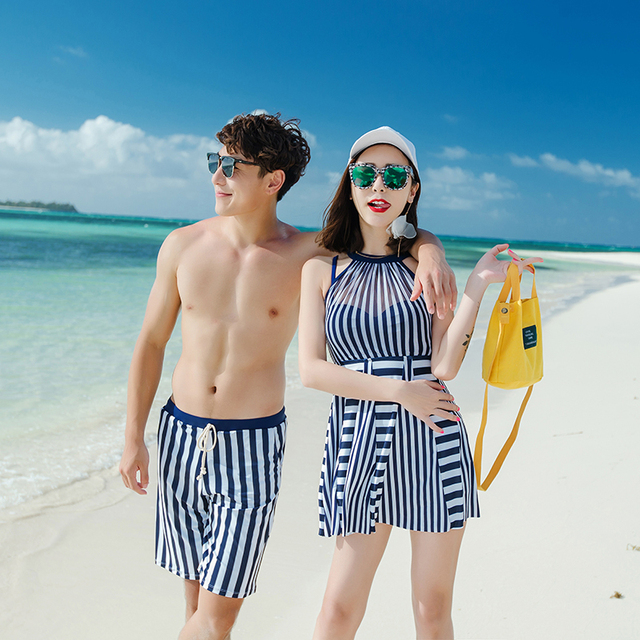 0302e33ada Couples swimwear one piece swimsuit women dress swimsuit blue striped men  shorts beach wear maillot de bain femme 2018 une piece