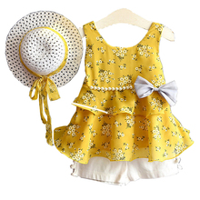 Girls Clothing Sets Summer Children Clothing Baby girl Vest T shirts And Shorts+Hat 3PCS Suits Toddler Kids Princess Clothes Set