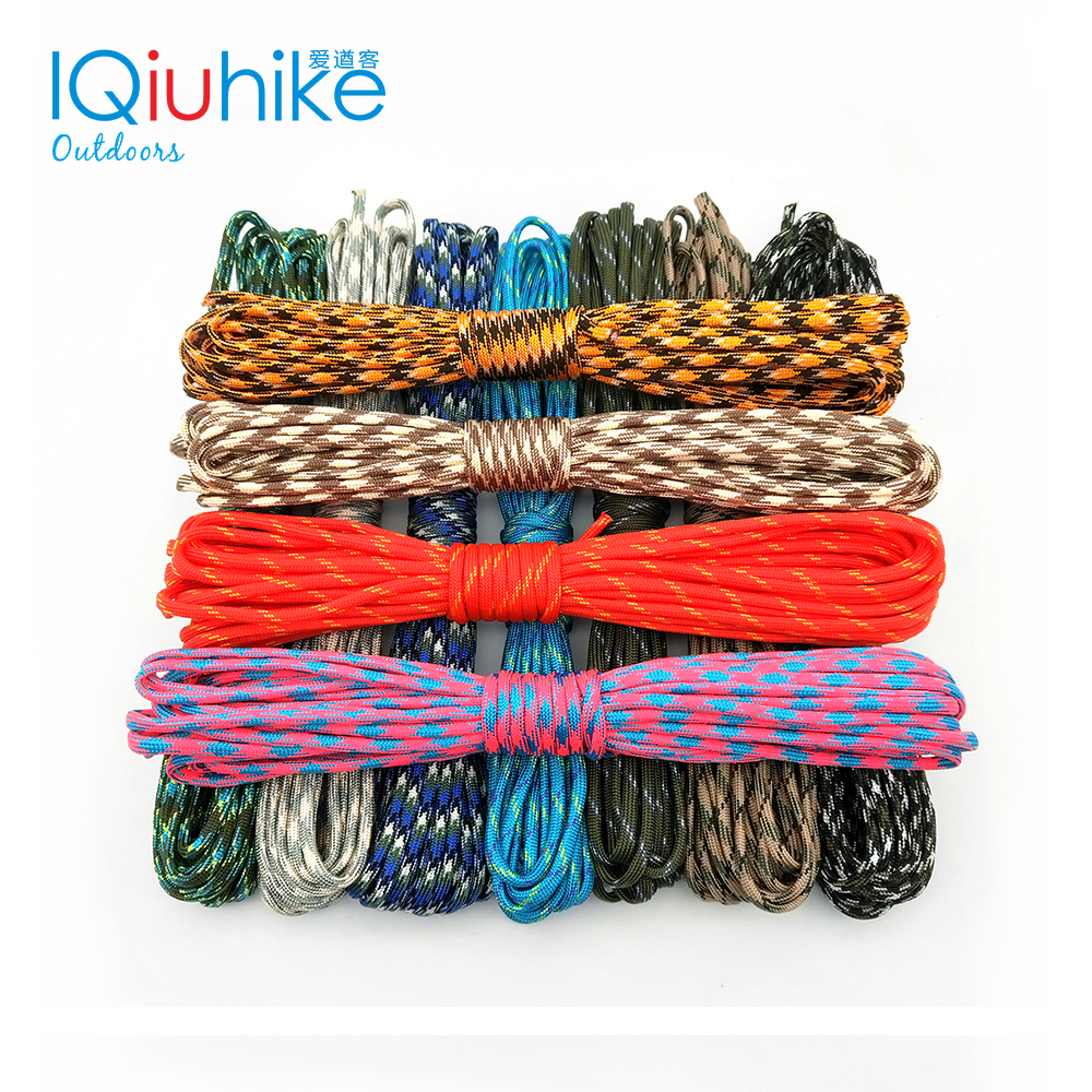 IQiuhike 550 Paracord Parachute Cord Lanyard Tent Rope Mil Spec Type III 7 Strand 100FT Paracord For Hiking Camping 208 Colors